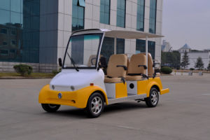 Yellow Electric Sightseeing/Crusier/Utility Car/Cart with 6 Seater, High Quality pictures & photos