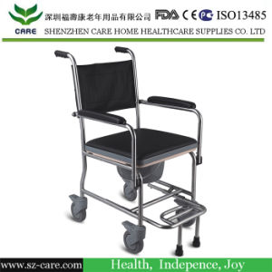 Toilet Seat Chair with Plastic Bucket Medical Commode Chair Toilet Pedestal Pan pictures & photos