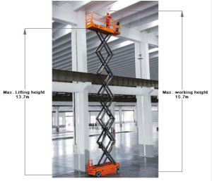 Electric Scissor Lift Self-Propelled Aerial Work Platform (DC drive motor) pictures & photos