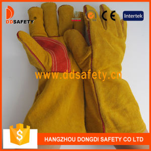 Ddsafety 2017 Yellow Cow Split Leather Reinforced Welder Glove Safety Gloves pictures & photos