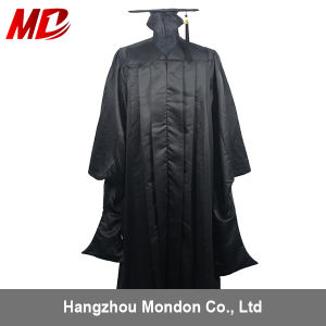 Wholesale Deluxe Master Graduation Cap Gown Matte Black pictures & photos