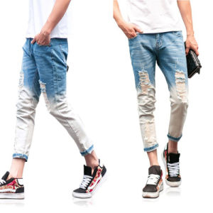 Custom Mens Fashion Holes Design Wash Skinny Jeans