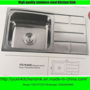 Ss201 Stainless Steel Singel Bowl Kitchen Sink with Board (FS7540D2)