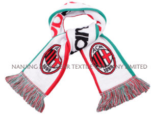 Knitted Jacquard Term Football Soccer Fans Scarf with Embrodiery