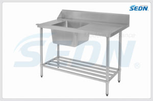 Handemade Commercial Stainless Steel Dishwasher Inlet Benches with Single Bowl (MT5023) pictures & photos