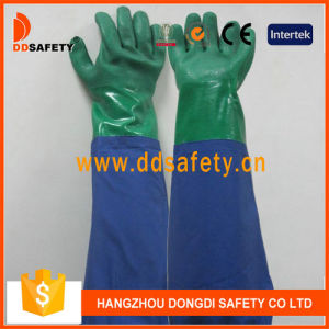 Ddsafety 2017 Double Color PVC Long Sleeve Green&Blue Latex Glove pictures & photos