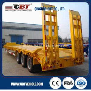 3 Axle Payload Lowbed Semi Trailer for Heavy Duty Mechines pictures & photos