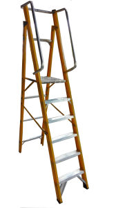 35kv Fiberglass Platform Ladders with Casters pictures & photos