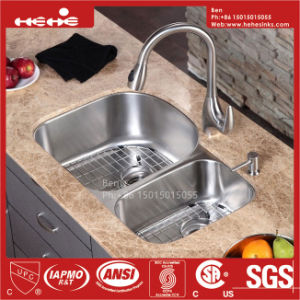 31-1/2 X 20-1/2 Inch Stainless Steel Under Mount Double Bowl Kitchen Sink pictures & photos