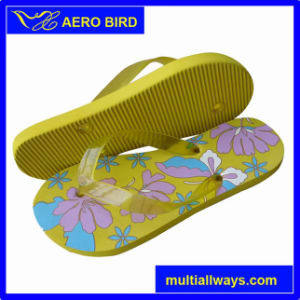 Cute Lady Flower Print PE Sandal with Jelly Straps pictures & photos