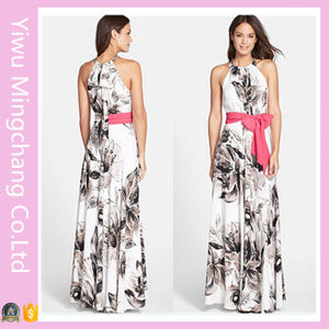Elegant Women Halter Chiffon Print Floral Long Dress with Belt pictures & photos