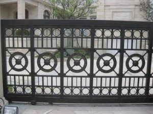 Quality Cheap Powder Coated Iron Driveway Gate pictures & photos