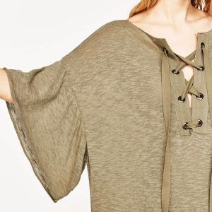 Ladies Fashion V-Neck Flare Sleeve Bandage Broad Blouse pictures & photos