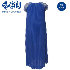 Blue Round-Collar Short-Sleeve Lace Pleated Loose Ladies Party Dress pictures & photos