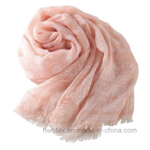 Wholesale Soft Pink Daisy Printed Linen Cotton Shawl / Fashion Scarf (HWBLC89) pictures & photos