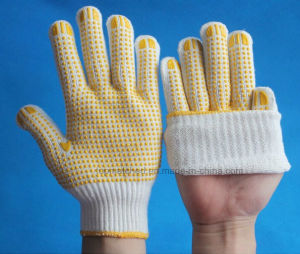 Bleached White Working Gloves PVC Coated Glove on Palm PVC Dotted Gloves PVC DOT Cotton Glove pictures & photos
