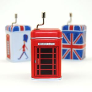 Bright Red British Phone Booth Metal Tin Music Box pictures & photos