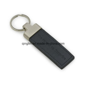 Promotion Gift Metal Keyring Leather Keychain with Stamp Logo, Custom Keychain pictures & photos