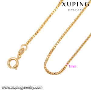 42970 Fashion Popular 18 Gold Case Cube Design Necklace 1mm Thin Chain pictures & photos