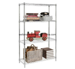 4 Tiers 250lbs Middle Duty Livingroom Storage Space Saver Chrome Metal Wire Shelving Rack pictures & photos