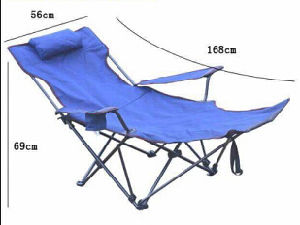 Folding Leisure Beach Chaise Longue, Outdoor Chair, Fishing Chair with Footrest Position