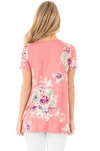 Plus Floral Crisscross Neck Detail Short Sleeve Top&Nbsp; pictures & photos