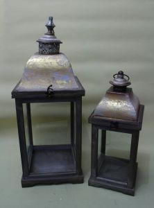 Golden Printing Elegant Tower Shape Glass Door Garden Art Lantern