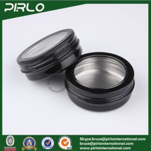 60g 2oz Black Facial Makeup Cream Aluminum Container with Window Cap pictures & photos