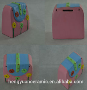 Hand-Painted Ceramic Pink Handbag Child Money Box pictures & photos