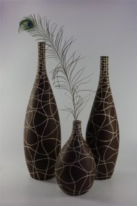 Brown Hand Carved Pattern Ceramic Vase pictures & photos