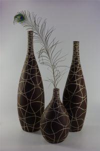 Brown Hand Carved Pattern Ceramic Vase