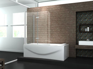 Easy Clean Frameless Stainless Steel Hinge Bath Screen for Sale pictures & photos