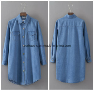 High Quality Women Garment Loose Casual Long Style Denim Shirt pictures & photos