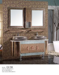 Antique Luxury Stainless Steel Bathroom Cabinet with Basin on The Countertop pictures & photos