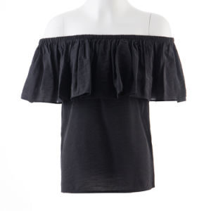 Women Tops Plain Dyed Black Rayon Frilly Strapless Blouses pictures & photos