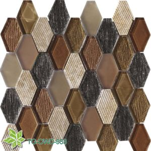 Green Water Jet Glass Mix Tiles Mosaic, Wall Tiles Mosaic (TG-OWD-983) pictures & photos