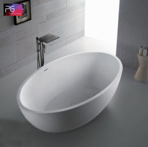 New Design Solid Surface Oval Shape Cheap Bathtub pictures & photos