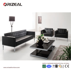 Orizeal Black Tufted Genuine Leather Office Sofa Set (OZ-OSF001) pictures & photos