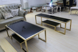 European Style Brush Golden Glass Top Coffee Table pictures & photos