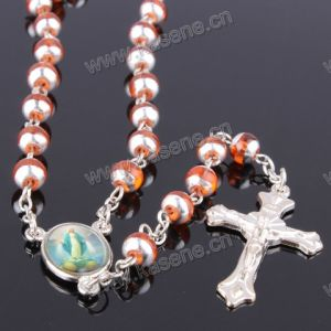 6mm Baking Varnished Pink Color Glass Rosary, Religious Catholic Rosary Beads pictures & photos