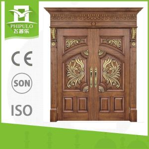 China Good Quality Double Entry Solid Wood Door for Villa Hot Sale pictures & photos