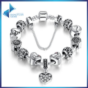 Fashion Bracelet Heart Pendants Safety Chain Black Charms Bracelets for Women DIY Jewelry pictures & photos
