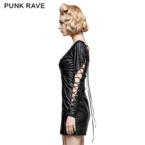 Q-312 Punk Rave Hollow out Deep V PU Dress for Various Occasions pictures & photos