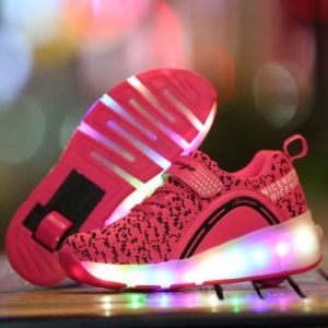 2017 Kids LED Light up Wheel Roller Skate Shoes pictures & photos