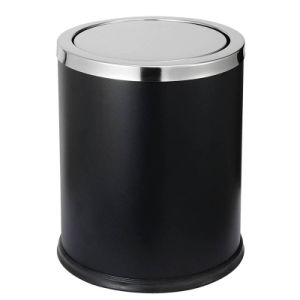 Black Powder Coat Swing Lid Waste Bin for Hotel Room pictures & photos