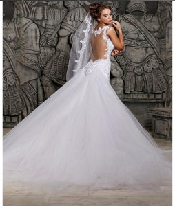 Lace Train Best Selling Mermaid Bridal Wedding Dresse (ALSW011) pictures & photos