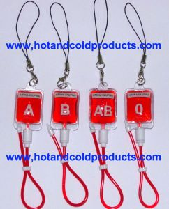 Liquid Filled PVC Pendant with Blood Group Logo