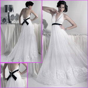 Halter Bridal Gown Embroidery Chiffon Maternity Wedding Dress H20167 pictures & photos