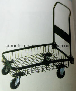 Foldable Mesh Structure Steel Platform Hand Truck with PU Castor pictures & photos