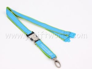 Custom Promtion Double Layer Woven Polyester Neck Strap Lanyard